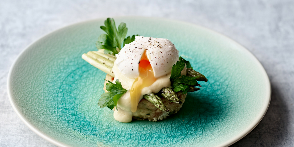 Bubble and squeak, asparagus and poached egg