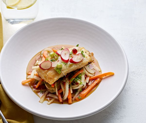 Miso cod, raw vegetable salad